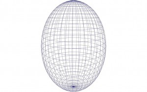 A drawing of a prolate spheroid (wire-mesh).