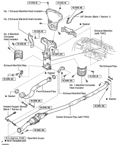 3D-exploded view of the exhaust system compents with fastener sizes and torque specifications.